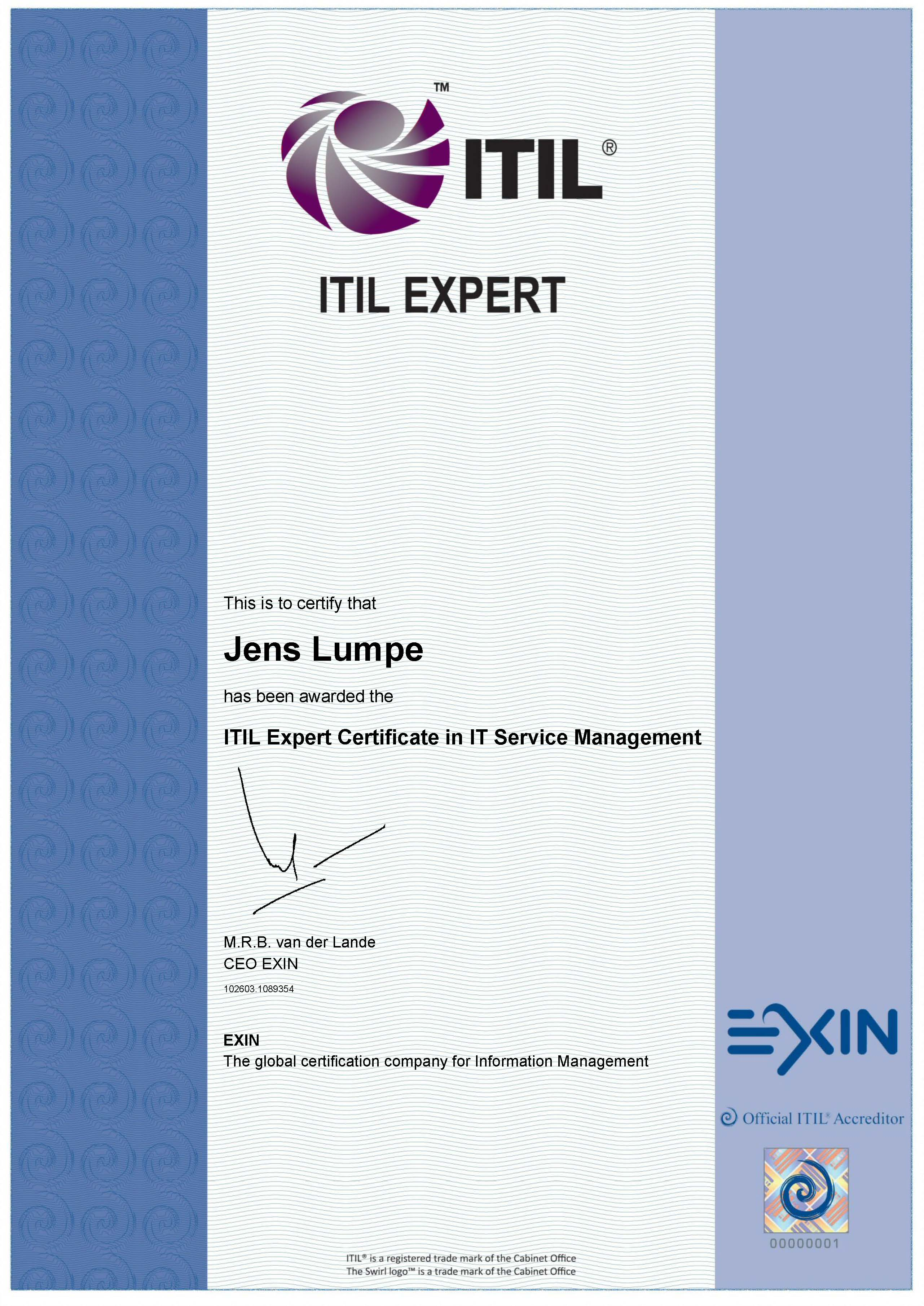 Zertifikat EXIN - ITIL V3 Expert IT Service Management