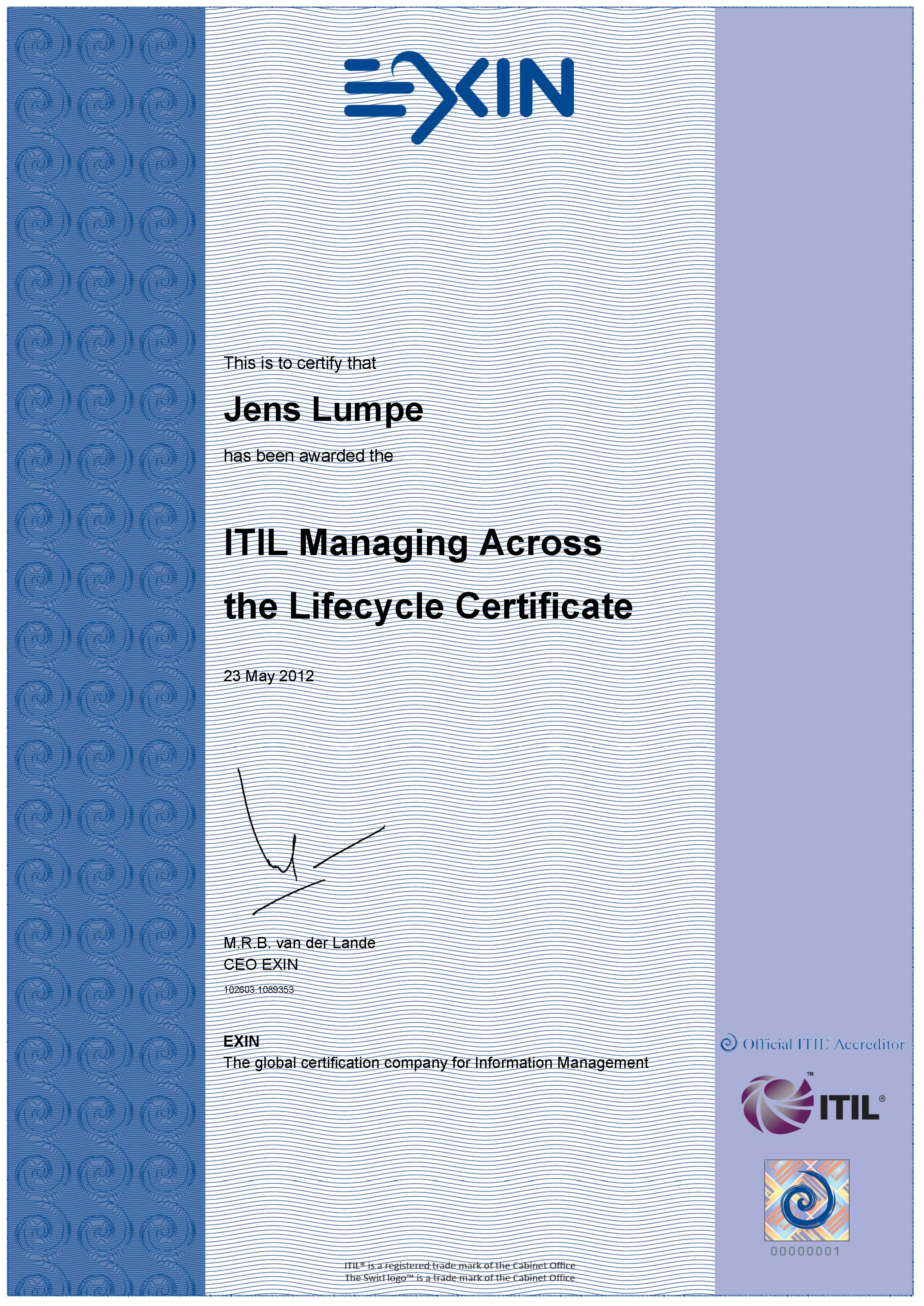 Zertifikat EXIN - ITIL V3 Expert Managing Across the Lifecycle