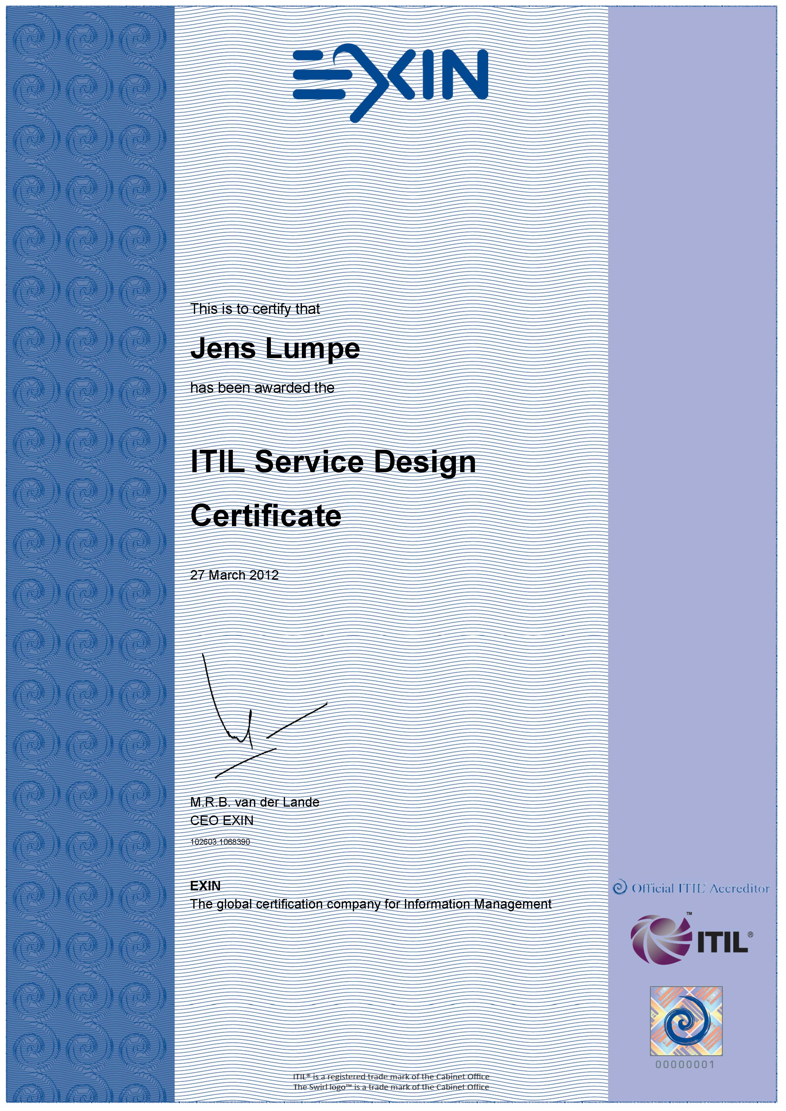 Zertifikat EXIN - ITIL V3 Expert Service Design