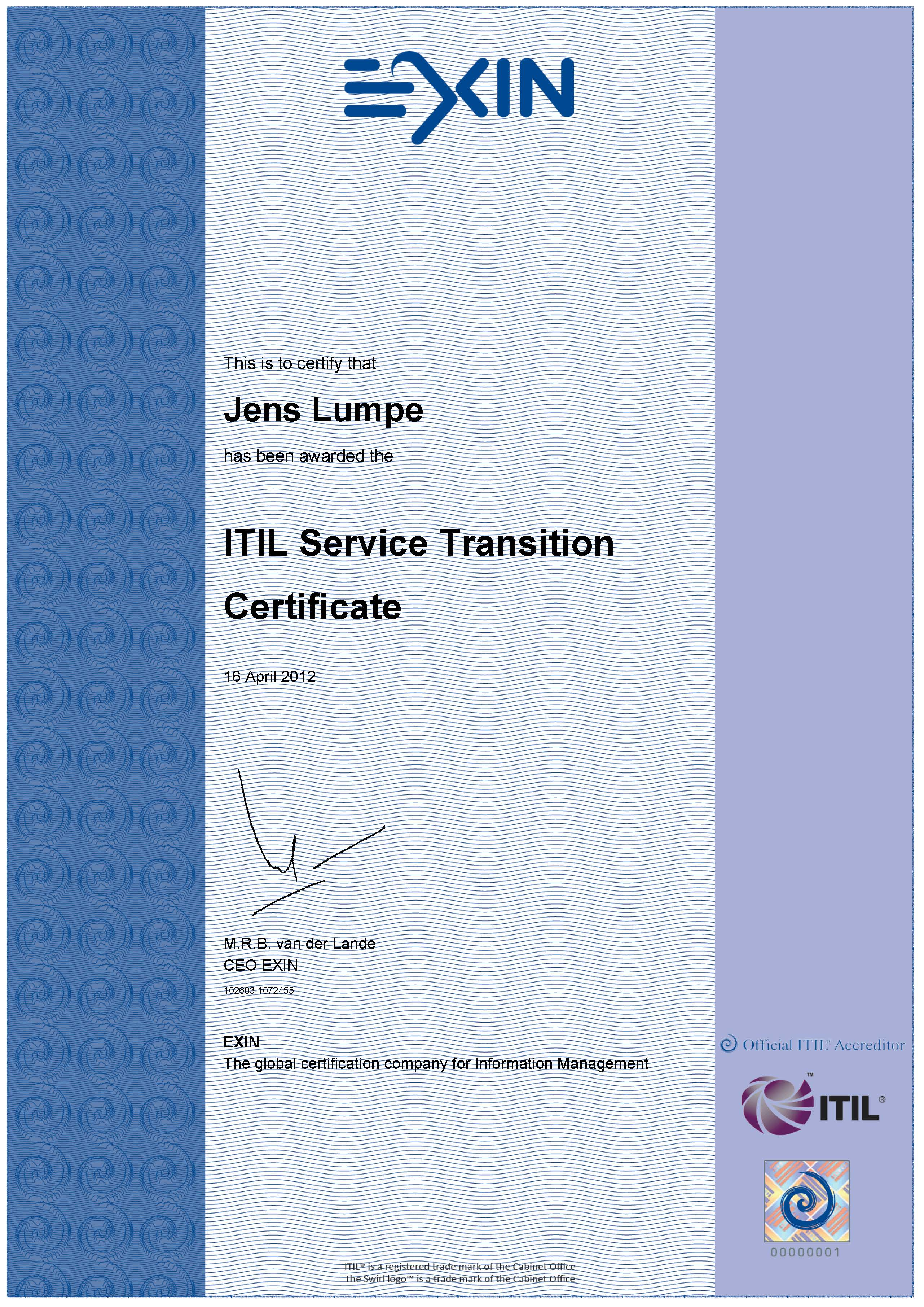 Zertifikat EXIN - ITIL V3 Expert Service Transition