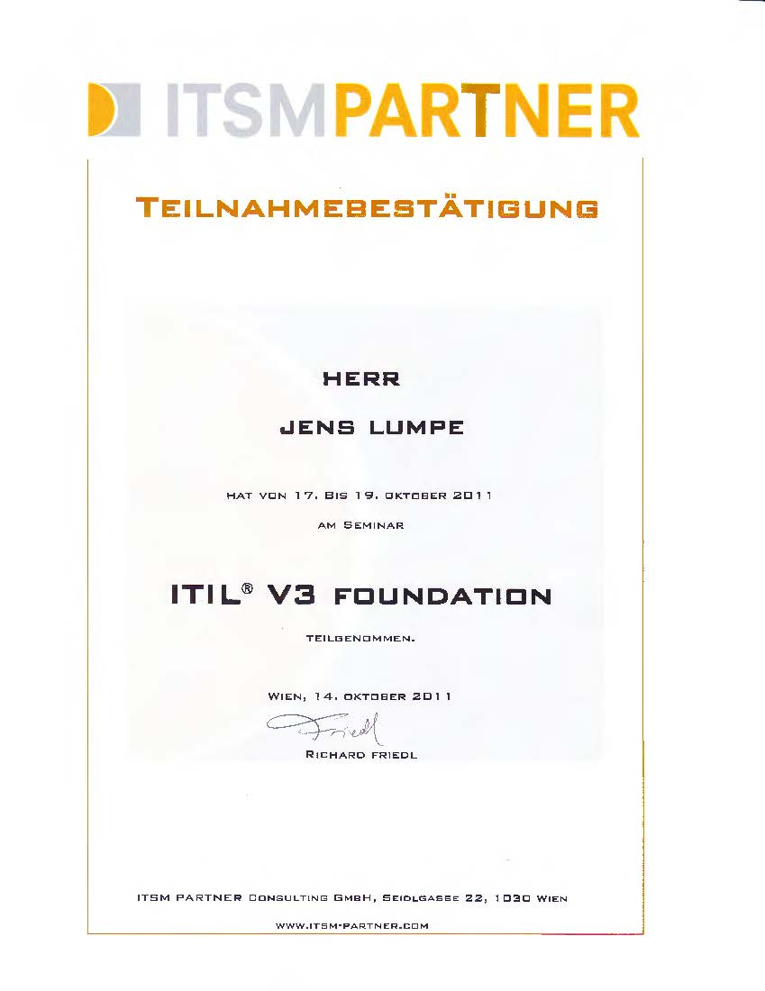 Zertifikat ITSM - ITIL V3 Foundation